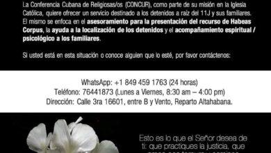 Photo of Conferencia Cubana de Religiosas/os: Servicio de Acompañamiento a los detenidos